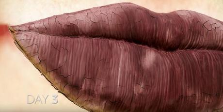 Una valla publicitaria que demuestra la efectividad del protector labial
