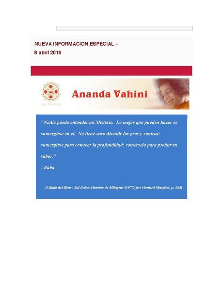 ANANDA VAHINI - INFORMACION ESPECIAL