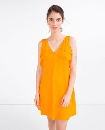 vestido naranja volantes