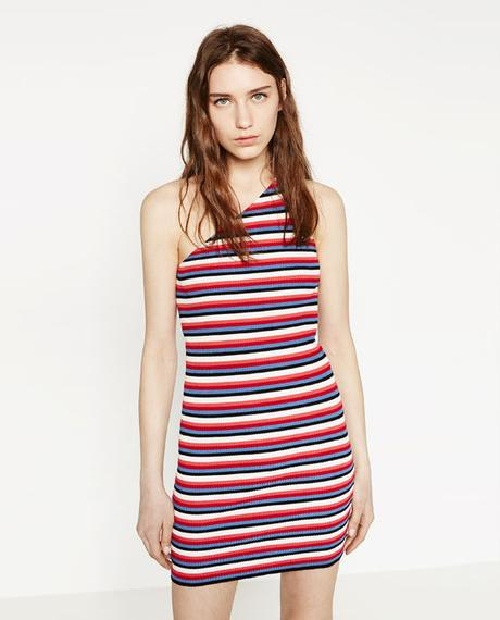 vestido rayas corte asimetrico