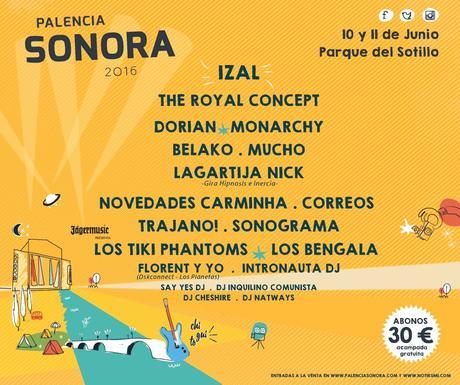 Palencia Sonora 2016, cartel completo