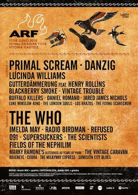 Distribución por días del Azkena Rock Festival 2016