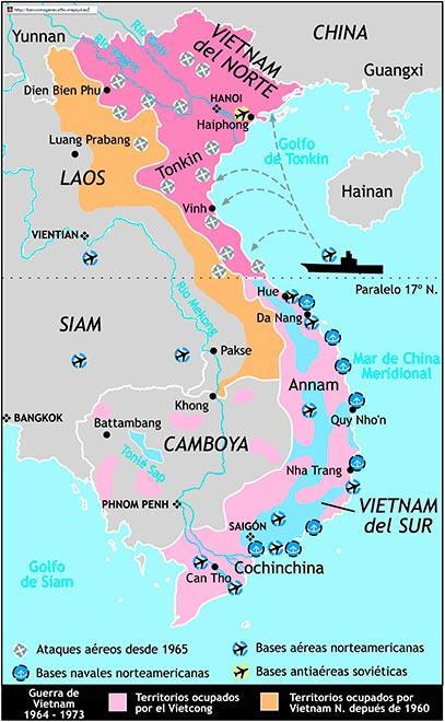 mapa guerra vietnam