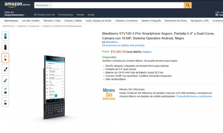 El BlackBerry Priv ya está disponible en México a través de Amazon