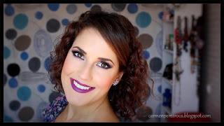 Maquillaje ahumado en azul y morado