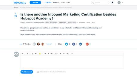 Pregunta Certificaciones en inbound marketing