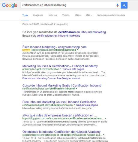 Búsqueda Certificaciones en Inbound Marketing