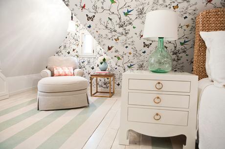 dormitorio juvenil con un papel pintado muy especial