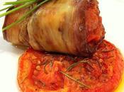 Tomate confitado rollito berenjena bacalao