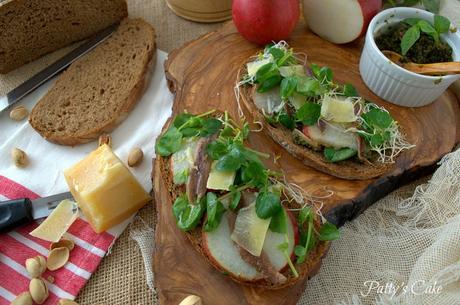 Tosta verde con peras y anchoas, un aperitivo con clase
