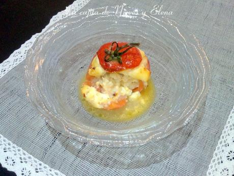 Tomate relleno de gambas con jugo de espumoso de parmesano de Martín Berasategui