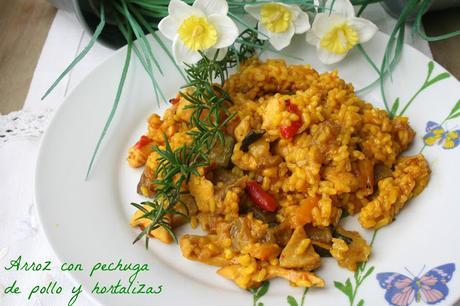 Arroz con pechuga de pollo y hortalizas