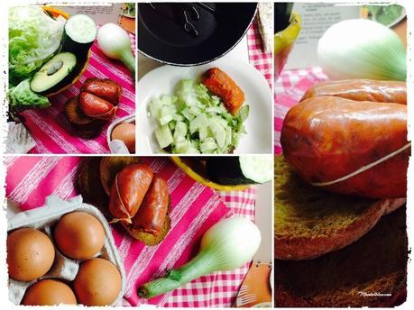 Tosta de revuelto con pepino, lechuga, cebolleta y chorizo_Fotor