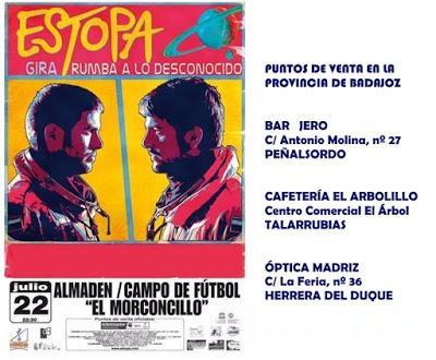Puntos de venta entradas para el Concierto de Estopa en Almadén