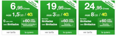 Amena también engrosará con más datos a sus tarifas de mayor costo para el verano del 2016