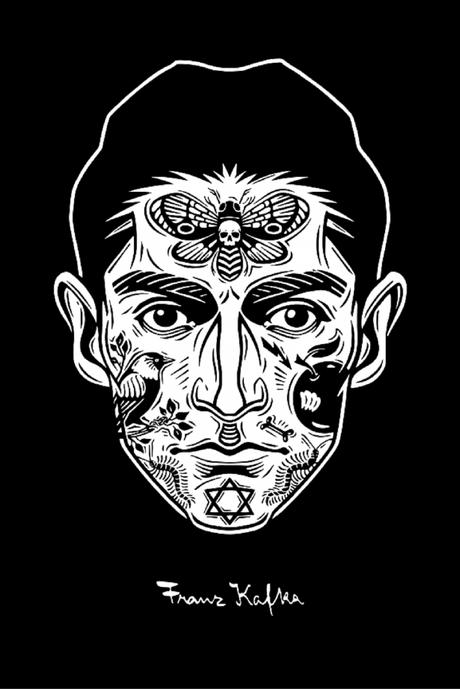 Peculiar retrato en blanco y negro de Franz Kafka