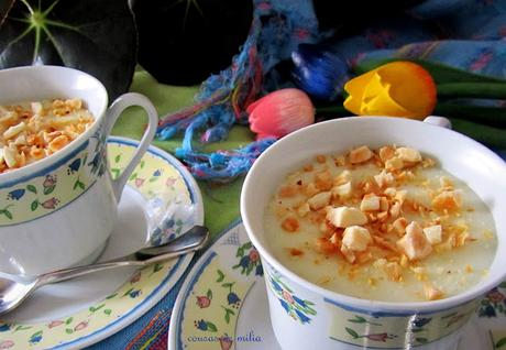 Flan libanés de coco y almendra con agua de azahar
