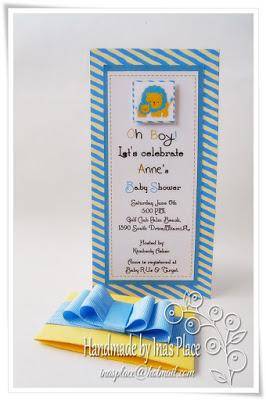 Invitación Baby Shower - It's A Boy - Blue & Yellow Handmade Baby Shower Invitation.