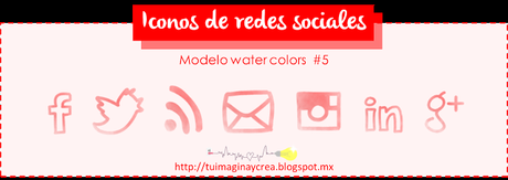 27 iconos sociales estilo water colors