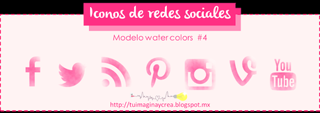 27 iconos sociales estilo water colors