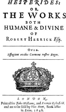 Robert Herrick Cavalier poet