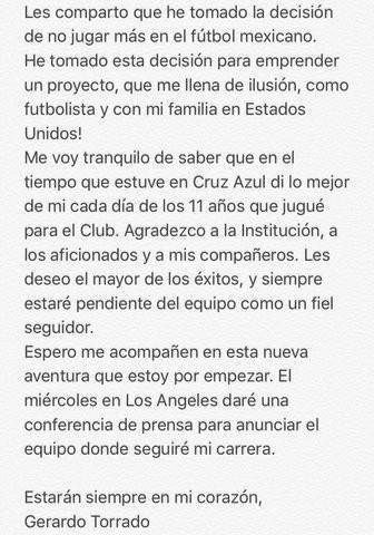 Gerardo Torrado anuncia su retiro del Fútbol mexicano