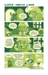 Historieta del cómic Gameboylands sobre Super Mario, con la princesa Peach y Mario.