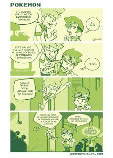 Historieta del cómic Gameboylands sobre el videojuego Pokemon