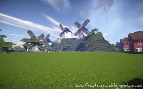 Réplica Minecraft de cuatro históricos molinos de viento de Castilla la Mancha, España.