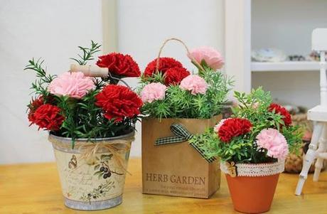 Arreglos florales con claveles de tela - DIY -