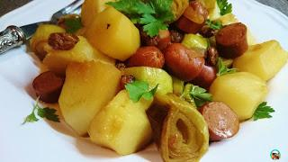 Salteado de puerros con patatas