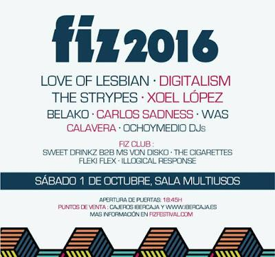 FIZ 2016: Love of Lesbian, Digitalism, The Strypes, Xoel López, Carlos Sadness, WAS, Belako...
