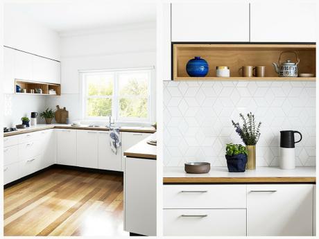 Cocina blanca y madera 1