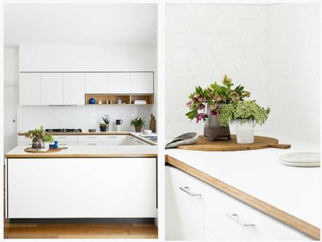 Cocina blanca y madera 2