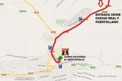 Mapas de situación campo de fútbol El Morconcillo (concierto de Estopa) Almadén