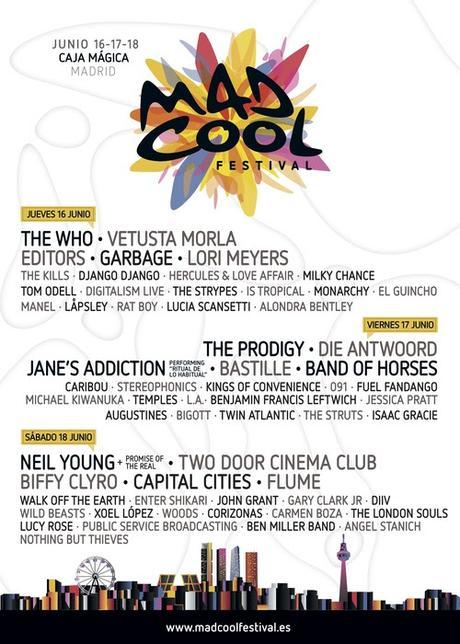 Mad Cool Festival 2016, cartel por días