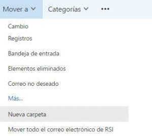 Nueva Carpeta en outlook.com
