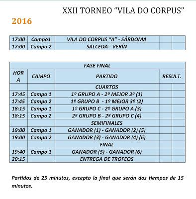 Torneo Vila do Corpus Ponteareas 2016: Categorías y horarios