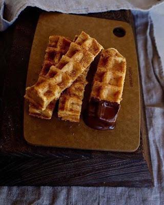 Churros nobles en forma de waffles  #glutenfree #sugarfree