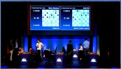 """Magnus Carlsen en el París Grand Chess Tour (Desde la sexta hasta la novena ronda de la 1ª vuelta del Torneo de blitz a 5' + 2"""")"""