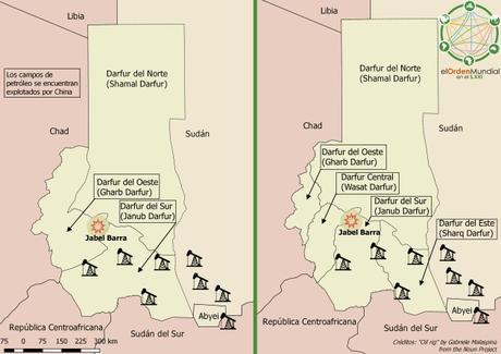 La división de Darfur en tres y cinco estados, todo ello con la presencia china de los campos petrolíferos