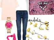 Look informal jeans clutch lentejuelas rosa