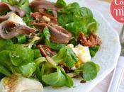 Ensalada canónigos, anchoas, mozarella tomates secos