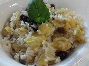 Salteado arroz manzana, pasas soja