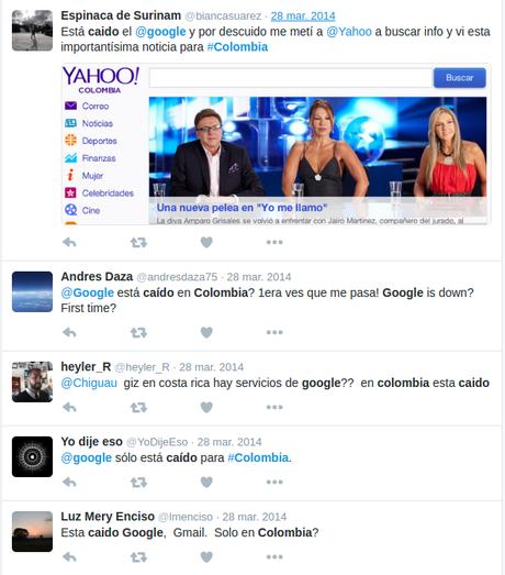 El bloqueo de Google en Ecuador también afectó a Colombia