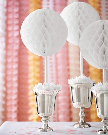 Bolas de papel de panal o de nido de abeja