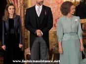 Reyes Príncipes Asturias reciben Cuerpo Diplomático. look Dña. Letizia
