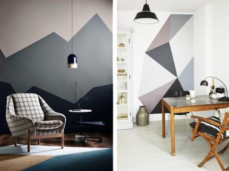 Ideas para pintar las paredes con figuras geom tricas - Pintar paredes con gotele ...