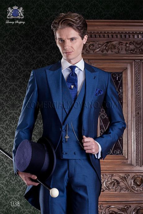 Chaqué azul de novio estilo entallado - Paperblog 3747346d4806