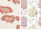 Peces, corales algas... telas estampados marinos